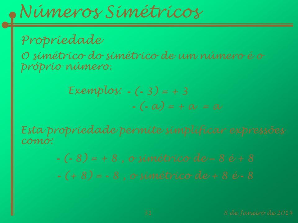 8 de Janeiro de 201431 Números Simétricos Propriedade O simétrico do simétrico de um número é o próprio número. Exemplos: - ( - a) = + a = a - ( - 3)