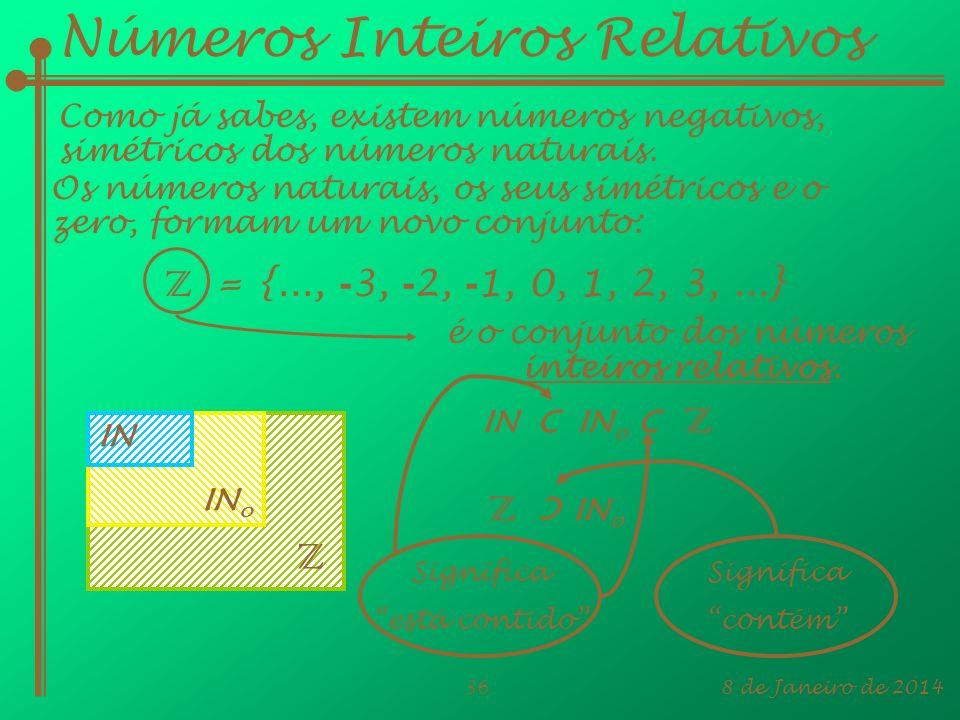 8 de Janeiro de 201436 IN C IN o C Z Números Inteiros Relativos Como já sabes, existem números negativos, simétricos dos números naturais. Os números