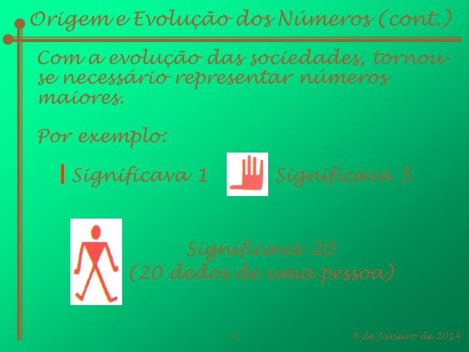 8 de Janeiro de 20144 Origem e Evolução dos Números (cont.) Com a evolução das sociedades, tornou- se necessário representar números maiores. Por exem