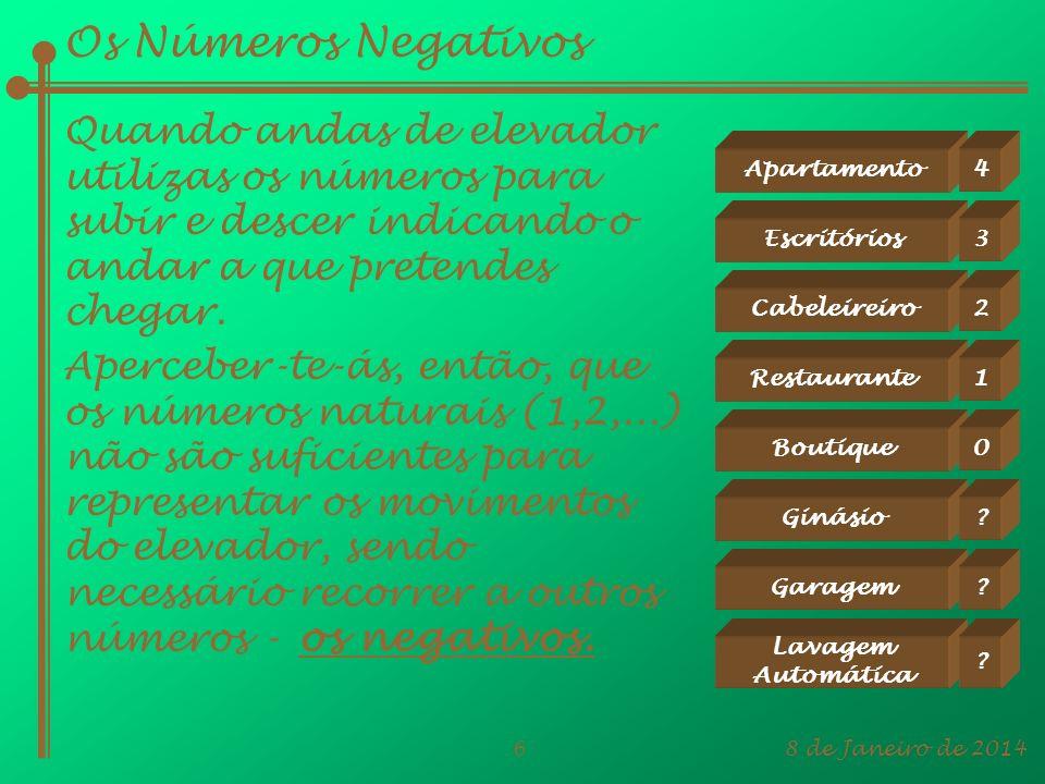 8 de Janeiro de 20146 Aperceber-te-ás, então, que os números naturais (1,2,...) não são suficientes para representar os movimentos do elevador, sendo