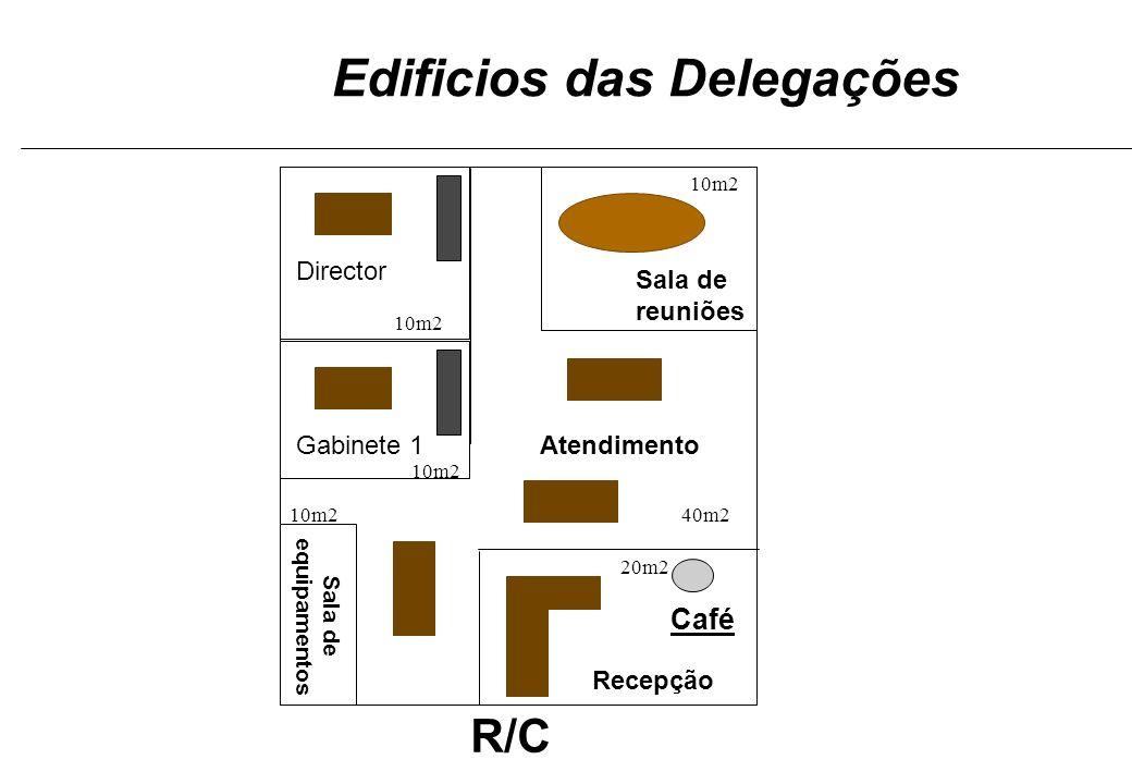 R/C Gabinete 1 Director Sala de reuniões Café Recepção Atendimento Sala de equipamentos Edificios das Delegações 10m2 40m2 10m2 20m2
