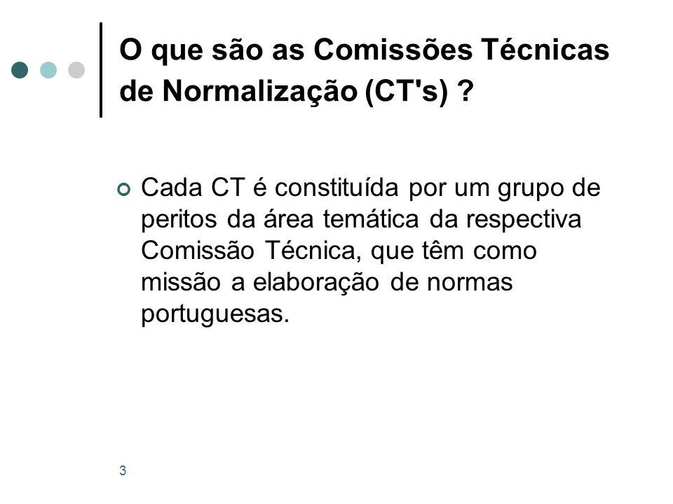 3 O que são as Comissões Técnicas de Normalização (CT's) ? Cada CT é constituída por um grupo de peritos da área temática da respectiva Comissão Técni