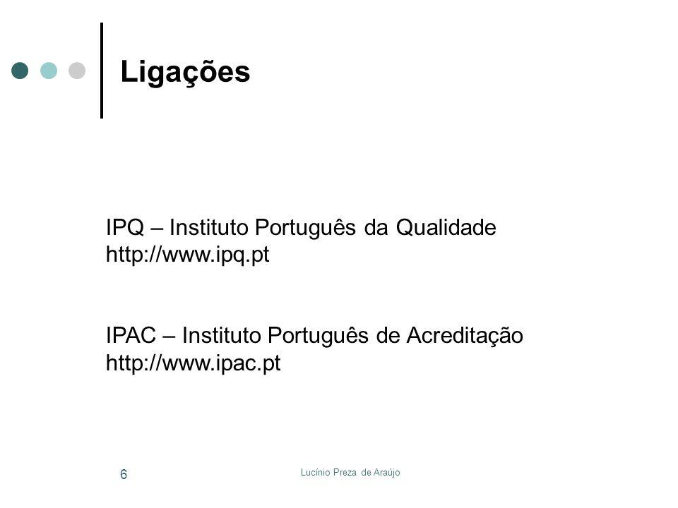 Lucínio Preza de Araújo 6 Ligações IPQ – Instituto Português da Qualidade http://www.ipq.pt IPAC – Instituto Português de Acreditação http://www.ipac.