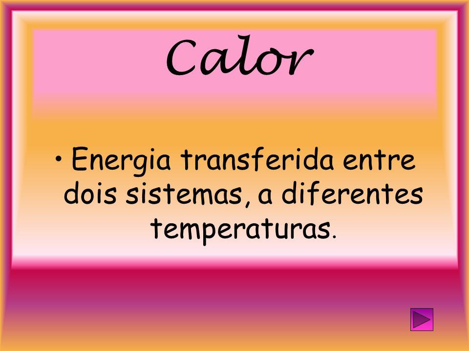 Calor Energia transferida entre dois sistemas, a diferentes temperaturas.