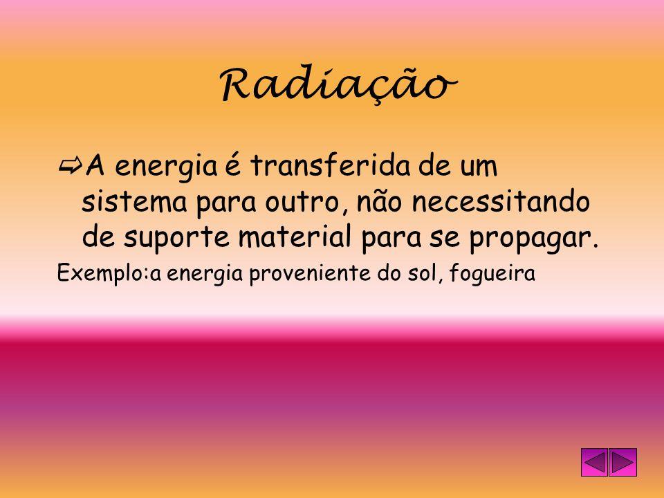 Radiação A energia é transferida de um sistema para outro, não necessitando de suporte material para se propagar.