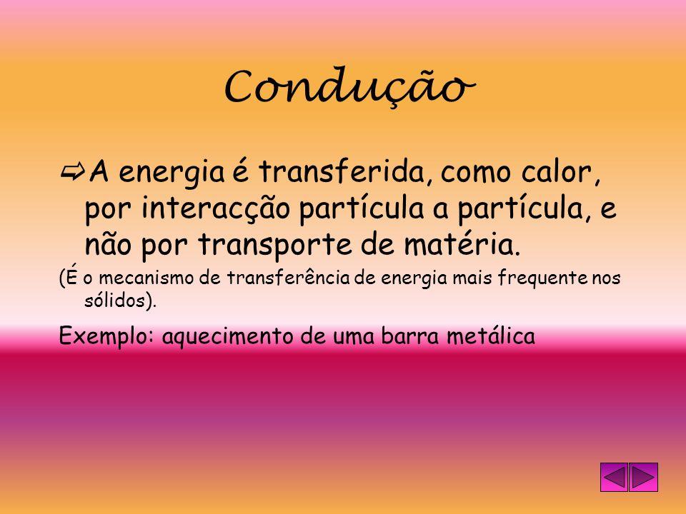 Mecanismos de transferência de energia Condução Convecção Radiação