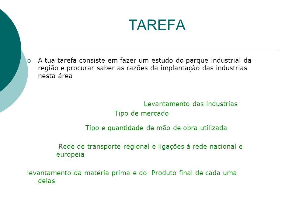 TAREFA A tua tarefa consiste em fazer um estudo do parque industrial da região e procurar saber as razões da implantação das industrias nesta área Lev