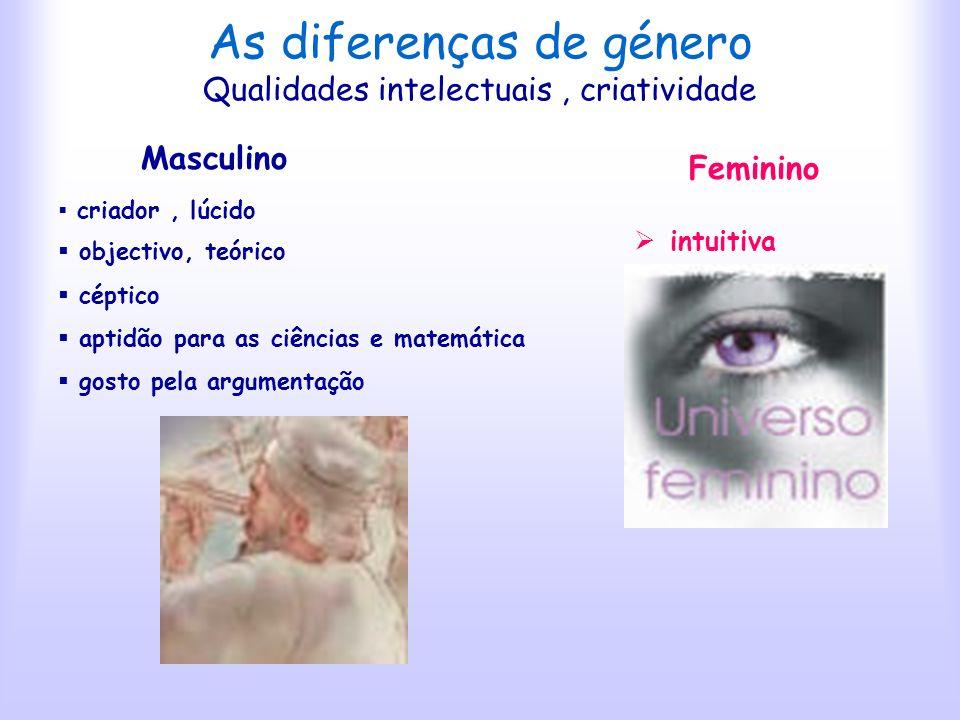 As diferenças de género Aquisição Feminino curiosa Masculino egoísta materialista