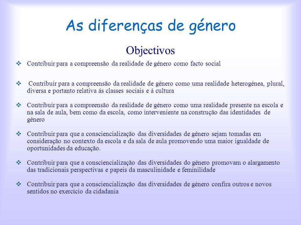 As diferenças de género Projecto CASCO Maria José Falcão Maria de Lourdes Primo ESHC Aveiro 2002