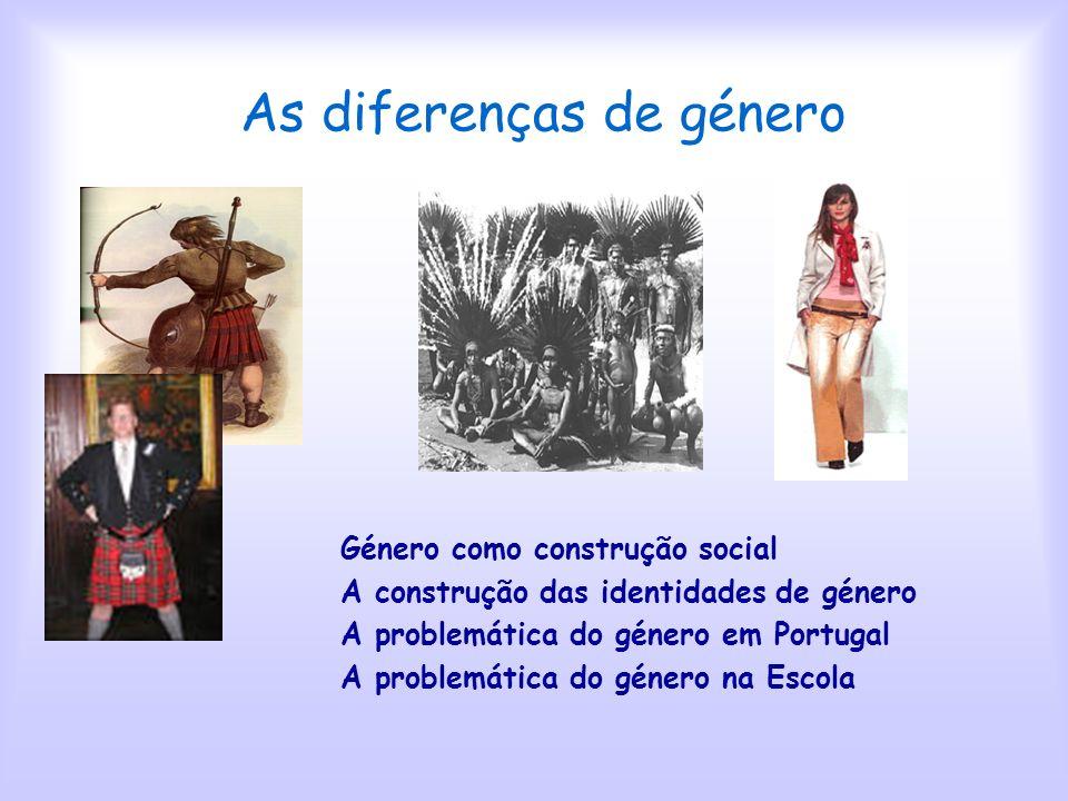 As diferenças de género Objectivos Contribuir para a compreensão da realidade de género como facto social Contribuir para a compreensão da realidade d