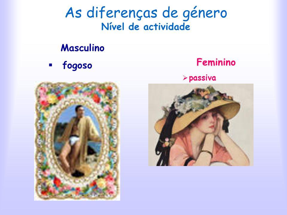 As diferenças de género Agressividade Masculino combativo e cínico gosto pela luta Feminino astuciosa