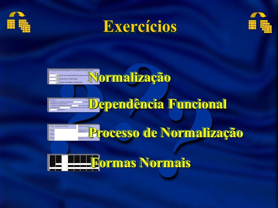 ?? ? ExercíciosExercícios NormalizaçãoNormalização Dependência Funcional Processo de Normalização Formas Normais