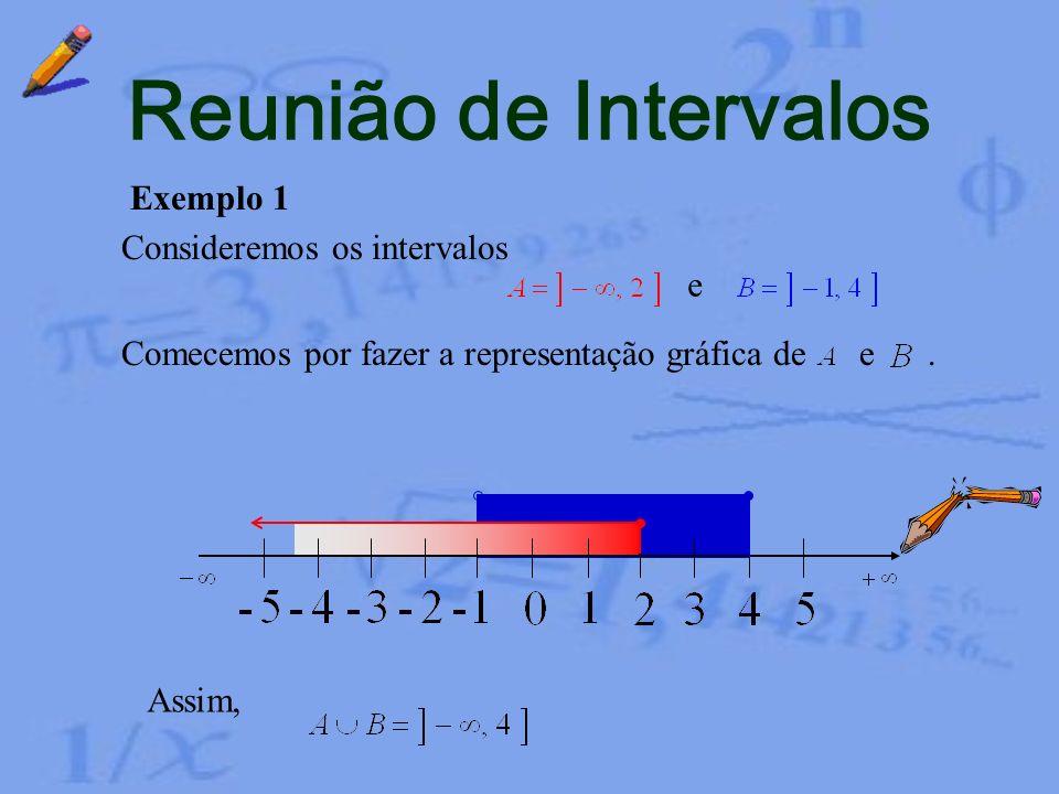 Reunião de Intervalos A reunião de intervalos, A e B, é por definição um conjunto constituído pelos elementos que pertencem a A ou a B. Isto significa