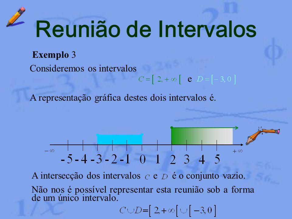 Reunião de Intervalos Exemplo 2 Neste caso verificamos que, unindo os elementos de com os de obtemos todos os elementos de. Portanto Consideremos os i
