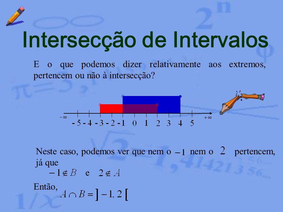 Intersecção de Intervalos Exemplo 1 Consideremos os intervalos Vamos determinar e começando por fazer a sua representação gráfica A partir desta repre