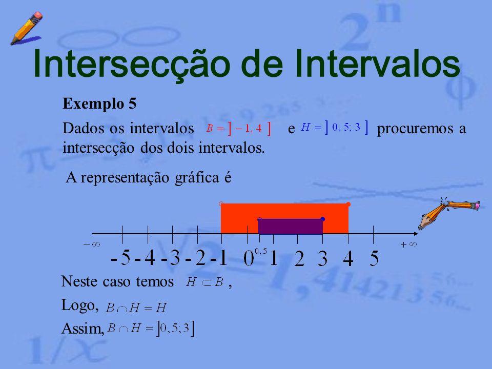 Exemplo 4 Dados os intervalos e procuremos a intersecção dos dois intervalos. A representação gráfica é Intersecção de Intervalos Agora não existem el