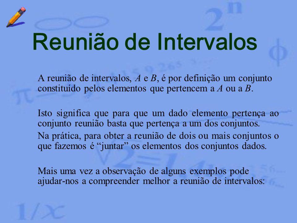 Exemplo 5 Neste caso temos, Logo, Assim, Intersecção de Intervalos Dados os intervalos e procuremos a intersecção dos dois intervalos. A representação