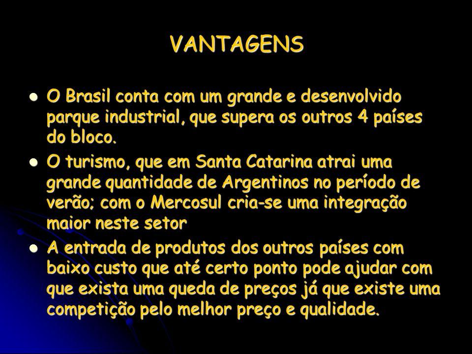 VANTAGENS O Brasil conta com um grande e desenvolvido parque industrial, que supera os outros 4 países do bloco. O Brasil conta com um grande e desenv