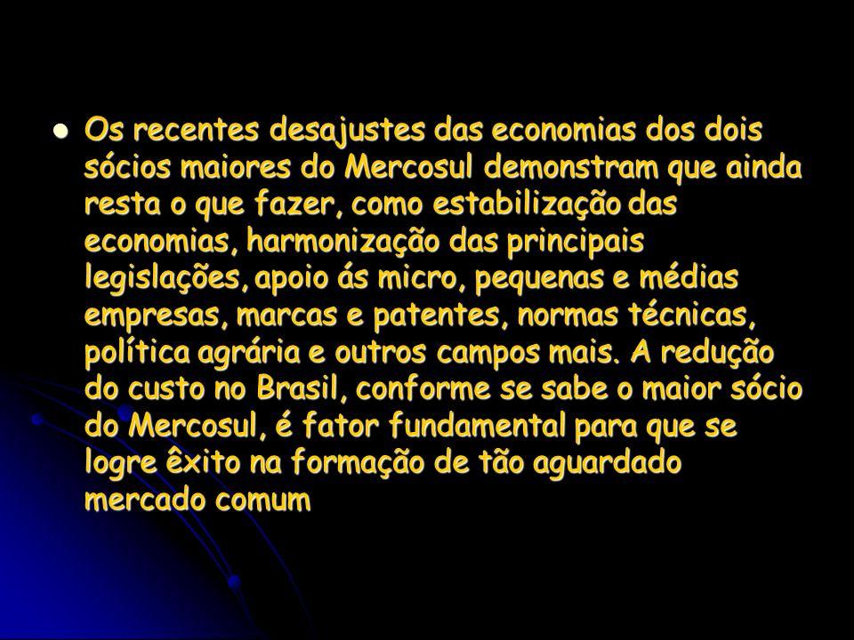 Os recentes desajustes das economias dos dois sócios maiores do Mercosul demonstram que ainda resta o que fazer, como estabilização das economias, har