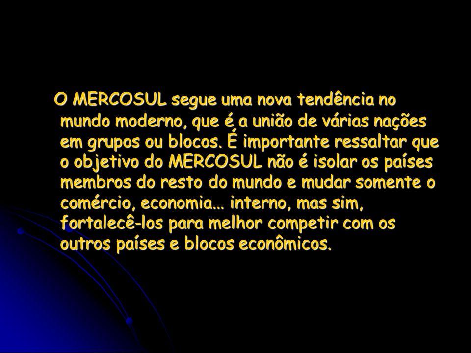O MERCOSUL segue uma nova tendência no mundo moderno, que é a união de várias nações em grupos ou blocos. É importante ressaltar que o objetivo do MER