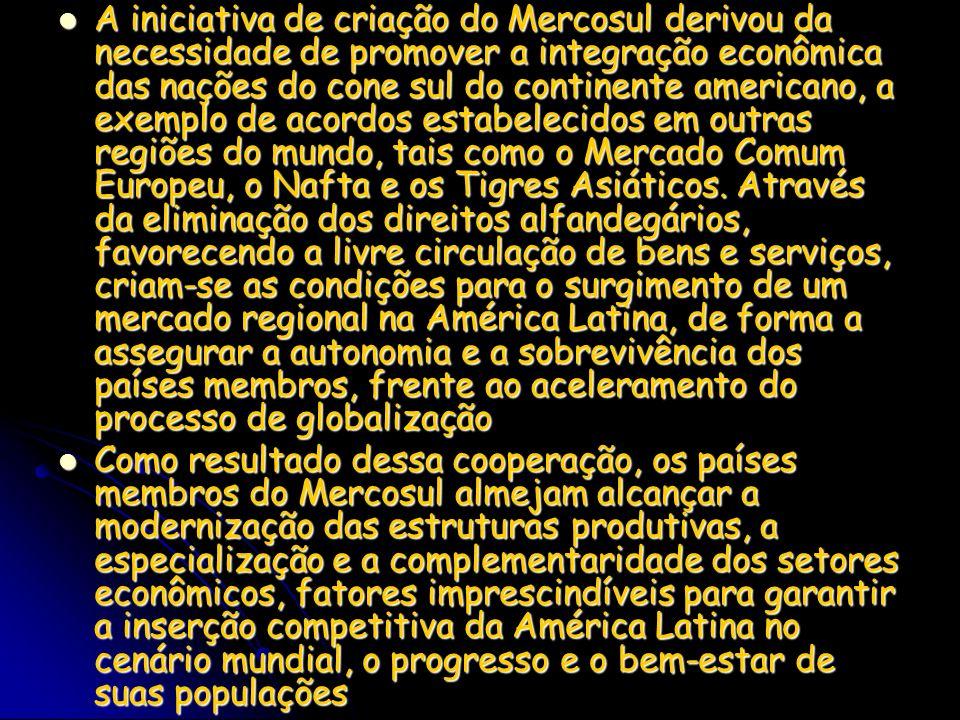 A iniciativa de criação do Mercosul derivou da necessidade de promover a integração econômica das nações do cone sul do continente americano, a exempl