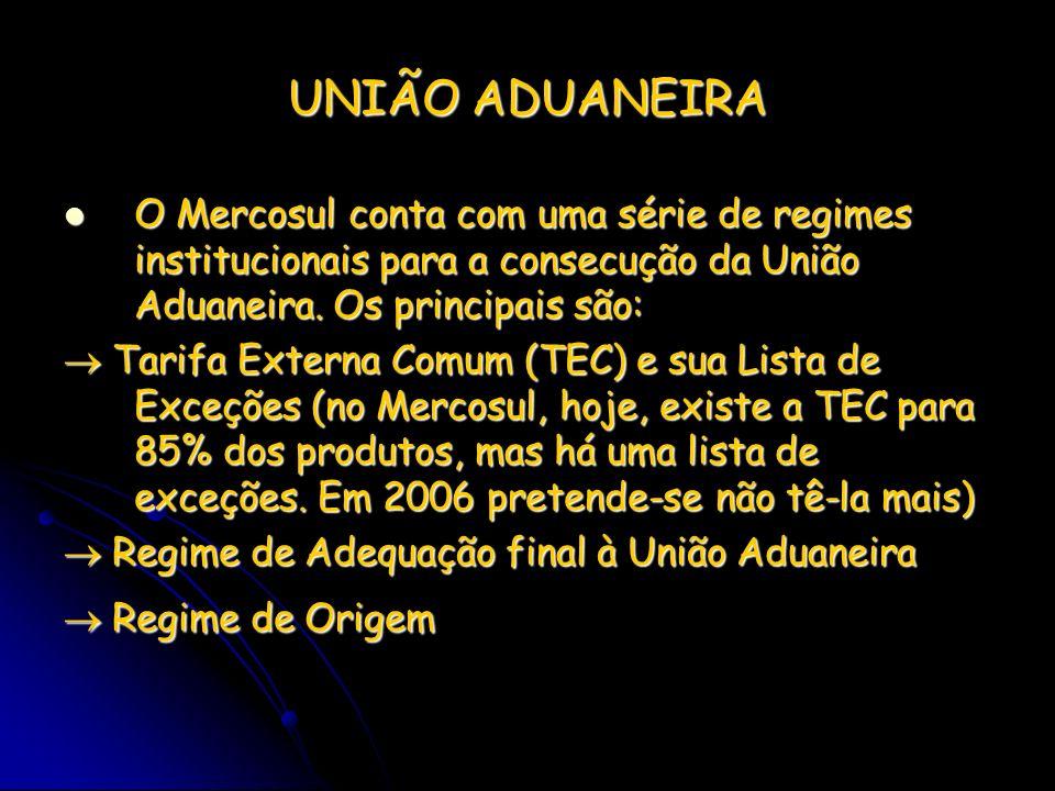 UNIÃO ADUANEIRA O Mercosul conta com uma série de regimes institucionais para a consecução da União Aduaneira. Os principais são: O Mercosul conta com