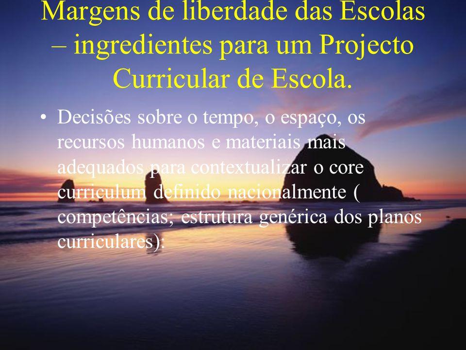 Margens de liberdade das Escolas: Algumas questões Como vai a escola distribuir os blocos pelas disciplinas que constituem cada área .