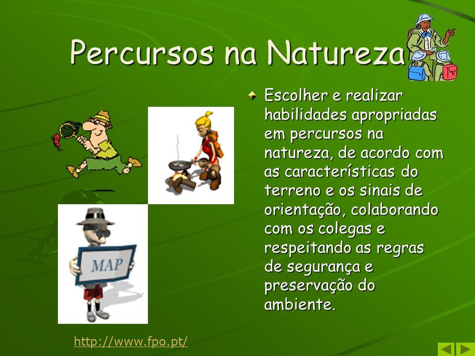Percursos na Natureza Escolher e realizar habilidades apropriadas em percursos na natureza, de acordo com as características do terreno e os sinais de