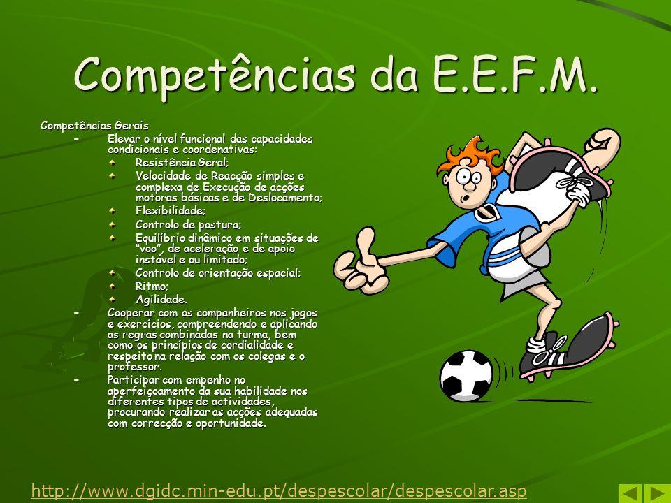Competências da E.E.F.M. Competências Gerais –Elevar o nível funcional das capacidades condicionais e coordenativas: Resistência Geral; Velocidade de