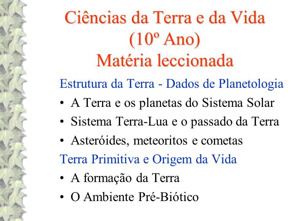 Ciências da Terra e da Vida (10º Ano) Matéria leccionada Estrutura da Terra - Dados de Planetologia A Terra e os planetas do Sistema Solar Sistema Ter