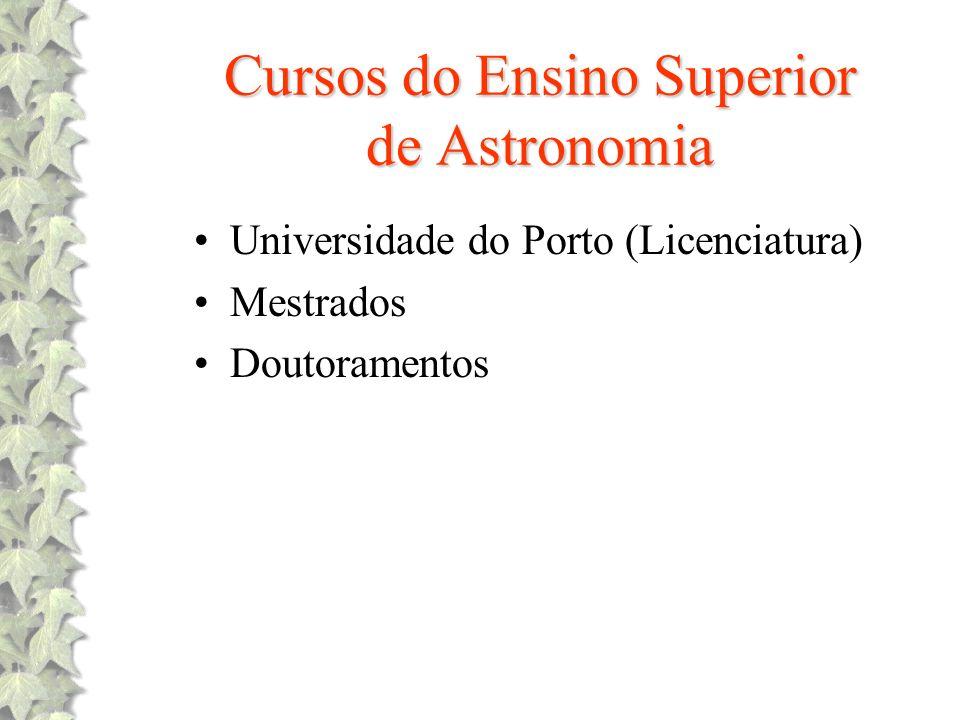 Cursos do Ensino Superior de Astronomia Universidade do Porto (Licenciatura) Mestrados Doutoramentos