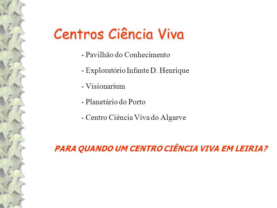 Centros Ciência Viva - Pavilhão do Conhecimento - Exploratório Infante D. Henrique - Visionarium - Planetário do Porto - Centro Ciência Viva do Algarv
