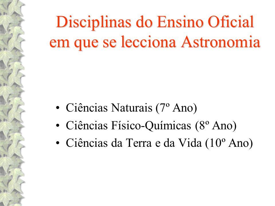 Disciplinas do Ensino Oficial em que se lecciona Astronomia Ciências Naturais (7º Ano) Ciências Físico-Químicas (8º Ano) Ciências da Terra e da Vida (