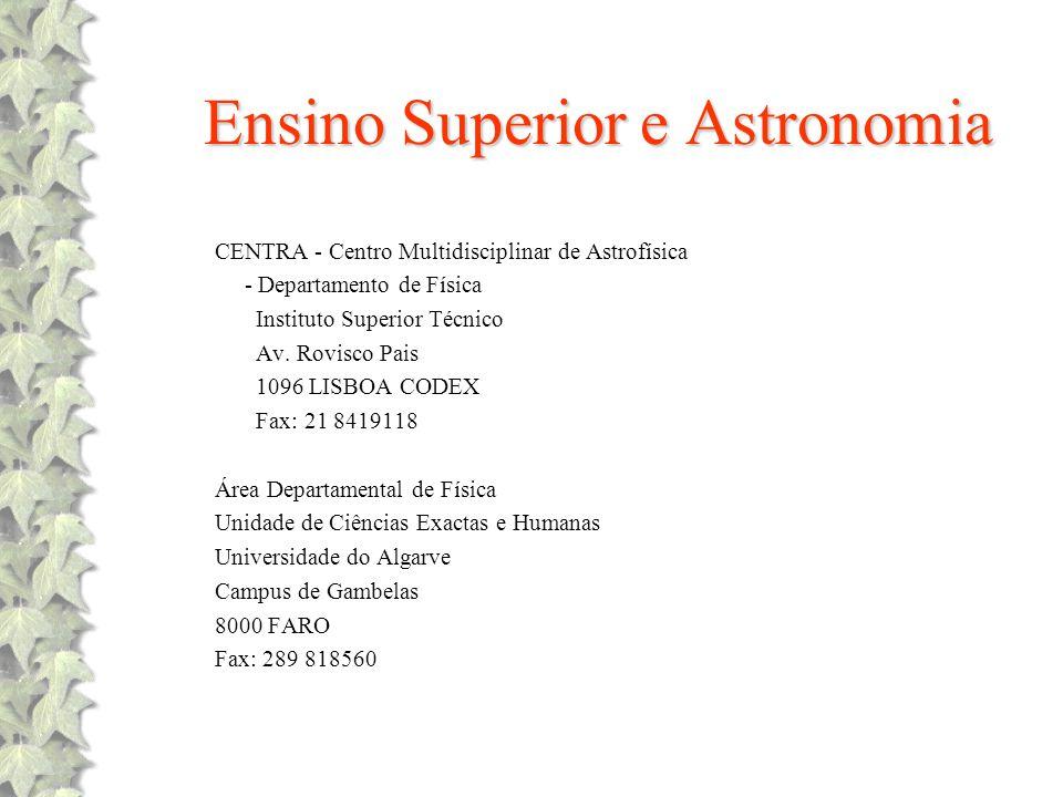Ensino Superior e Astronomia CENTRA - Centro Multidisciplinar de Astrofísica - Departamento de Física Instituto Superior Técnico Av. Rovisco Pais 1096