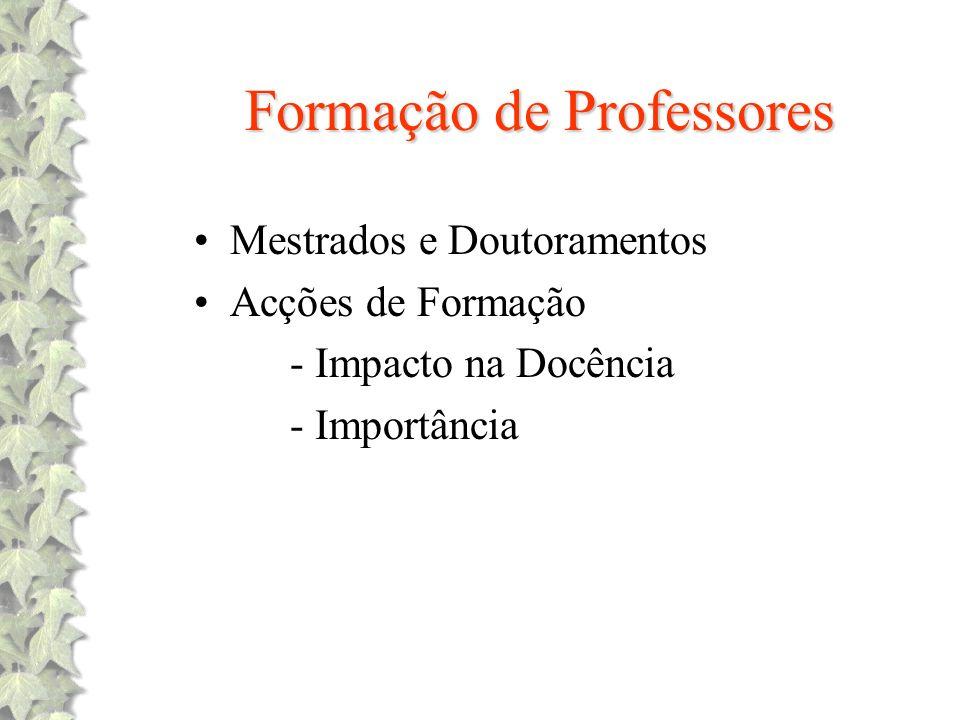 Formação de Professores Mestrados e Doutoramentos Acções de Formação - Impacto na Docência - Importância