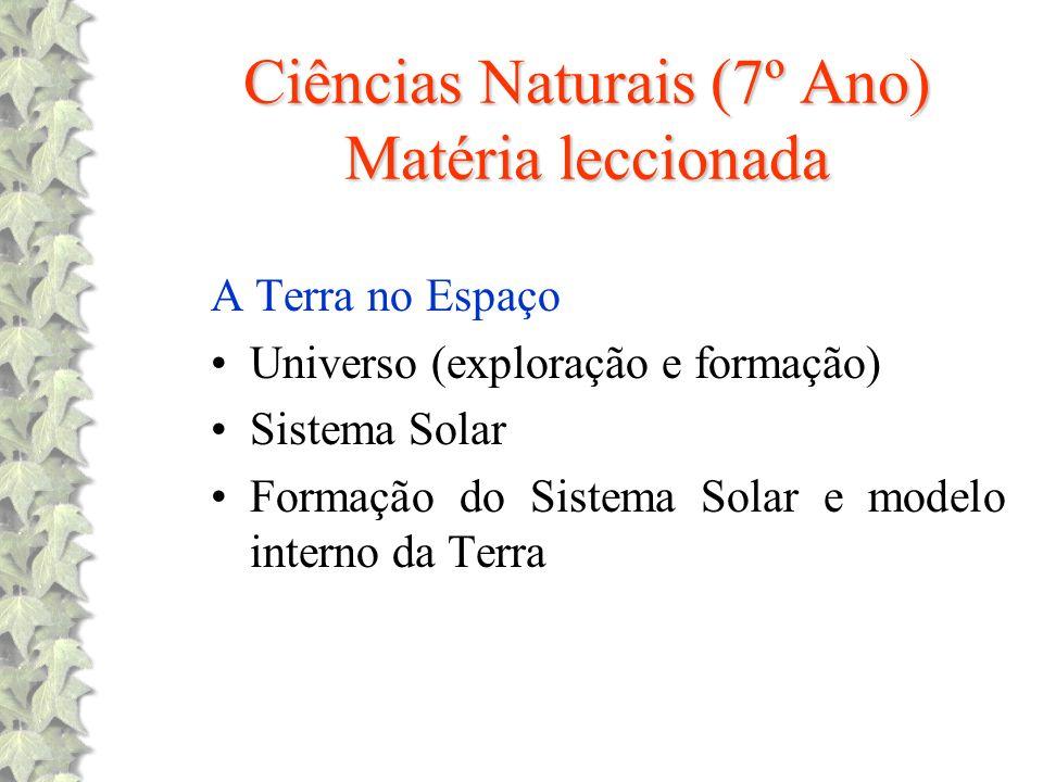 Ciências Naturais (7º Ano) Matéria leccionada A Terra no Espaço Universo (exploração e formação) Sistema Solar Formação do Sistema Solar e modelo inte