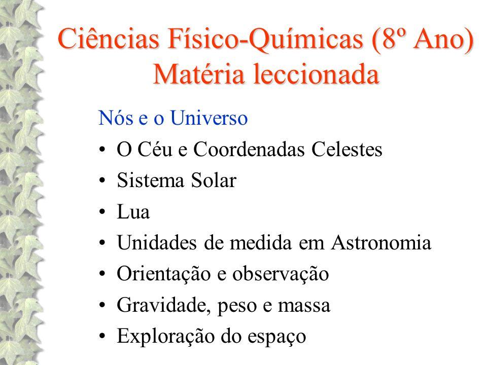 Ciências Físico-Químicas (8º Ano) Matéria leccionada Nós e o Universo O Céu e Coordenadas Celestes Sistema Solar Lua Unidades de medida em Astronomia