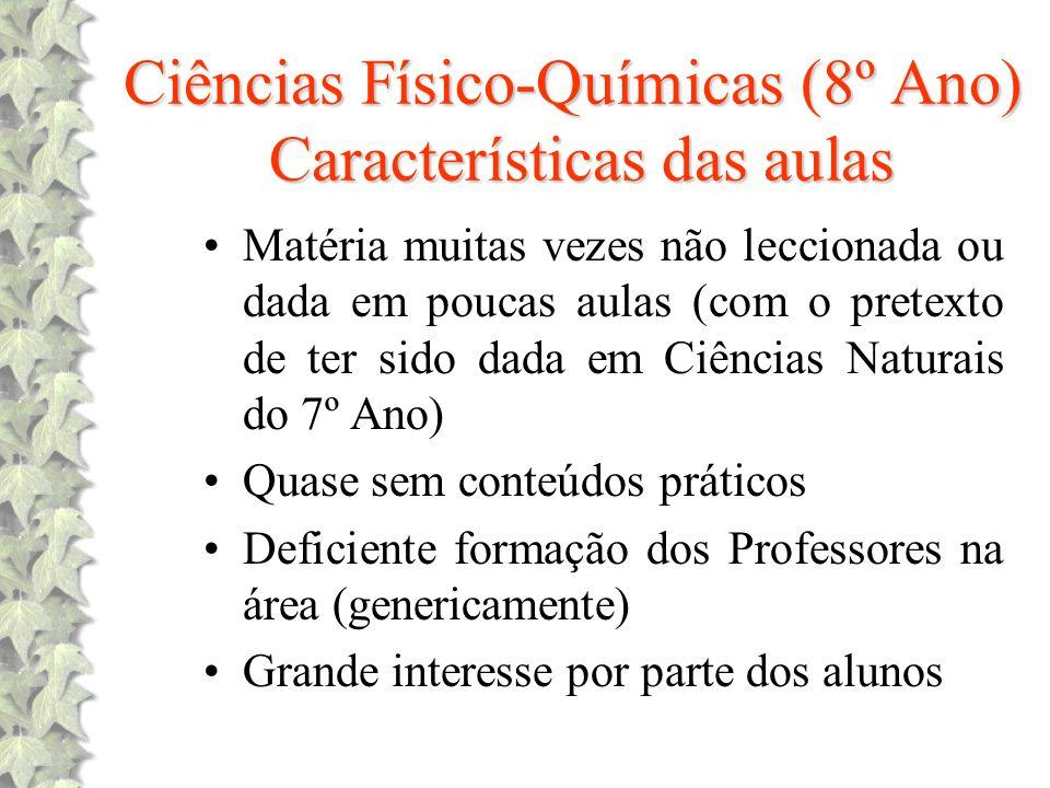 Ciências Físico-Químicas (8º Ano) Características das aulas Matéria muitas vezes não leccionada ou dada em poucas aulas (com o pretexto de ter sido da