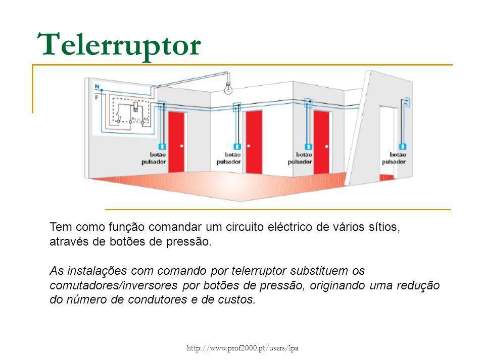 http://www.prof2000.pt/users/lpa Telerruptor Tem como função comandar um circuito eléctrico de vários sítios, através de botões de pressão. As instala