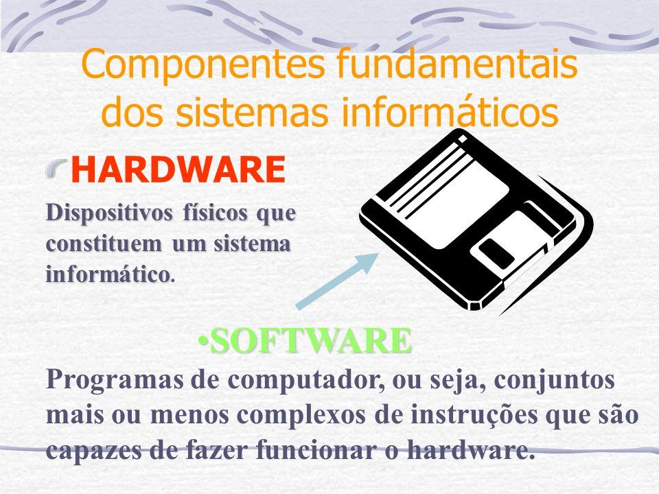 Componentes fundamentais dos sistemas informáticos HARDWARE Dispositivos físicos que constituem um sistema informático Dispositivos físicos que consti