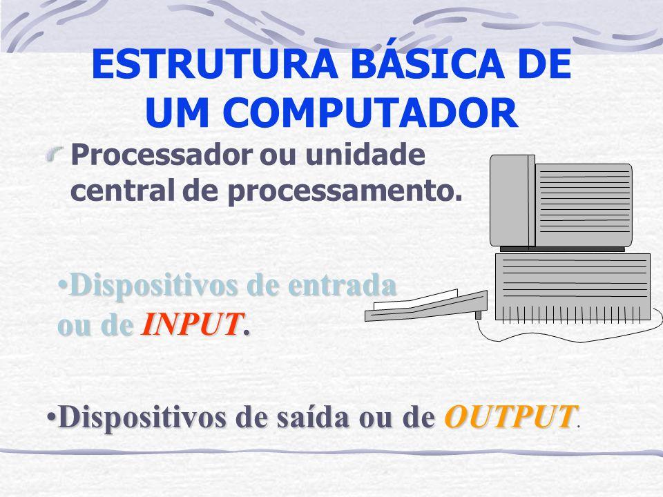 ESTRUTURA BÁSICA DE UM COMPUTADOR Processador ou unidade central de processamento. Dispositivos de entrada ou de INPUT.Dispositivos de entrada ou de I