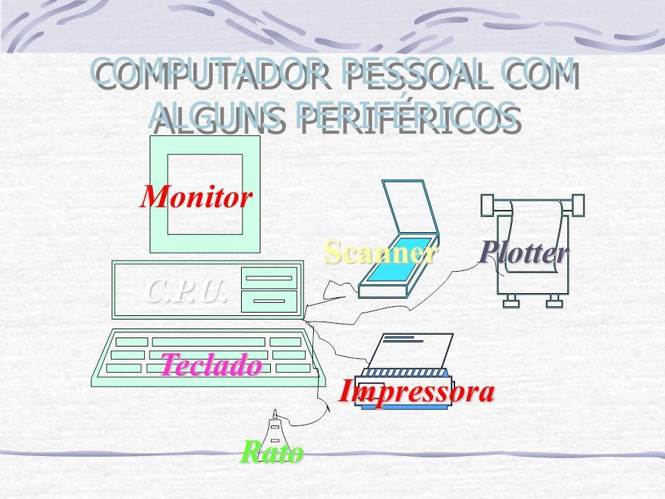 COMPUTADOR PESSOAL COM ALGUNS PERIFÉRICOS Monitor Teclado Rato Scanner Impressora Plotter C.P.U.