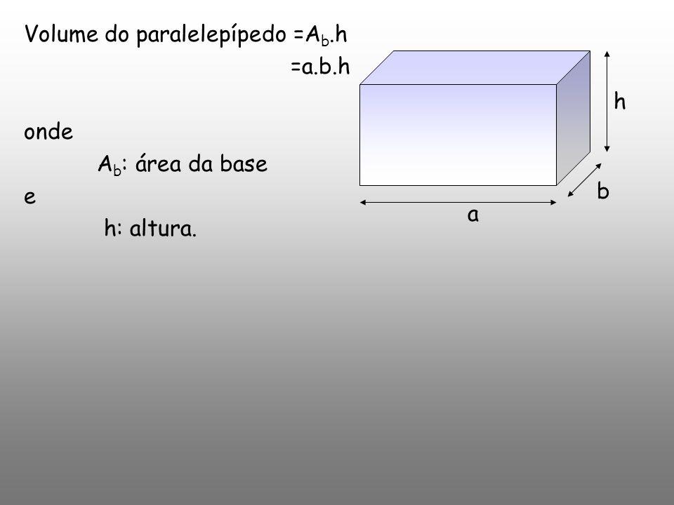 Volume do paralelepípedo =A b.h =a.b.h onde A b : área da base e h: altura. a b h