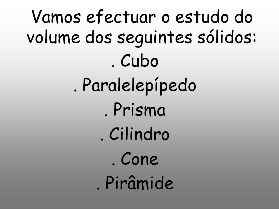Vamos efectuar o estudo do volume dos seguintes sólidos:.