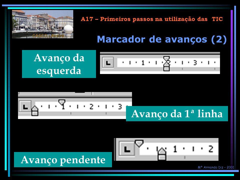 A17 – Primeiros passos na utilização das TIC Marcador de avanços (1) Avanço da 1ª linha Avanço pendente Avanço da esquerda Mª Armanda Diz - 2001