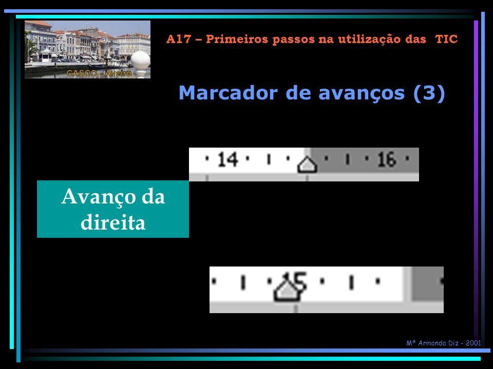 A17 – Primeiros passos na utilização das TIC Avanço da esquerda Avanço da 1ª linha Avanço pendente Marcador de avanços (2) Mª Armanda Diz - 2001