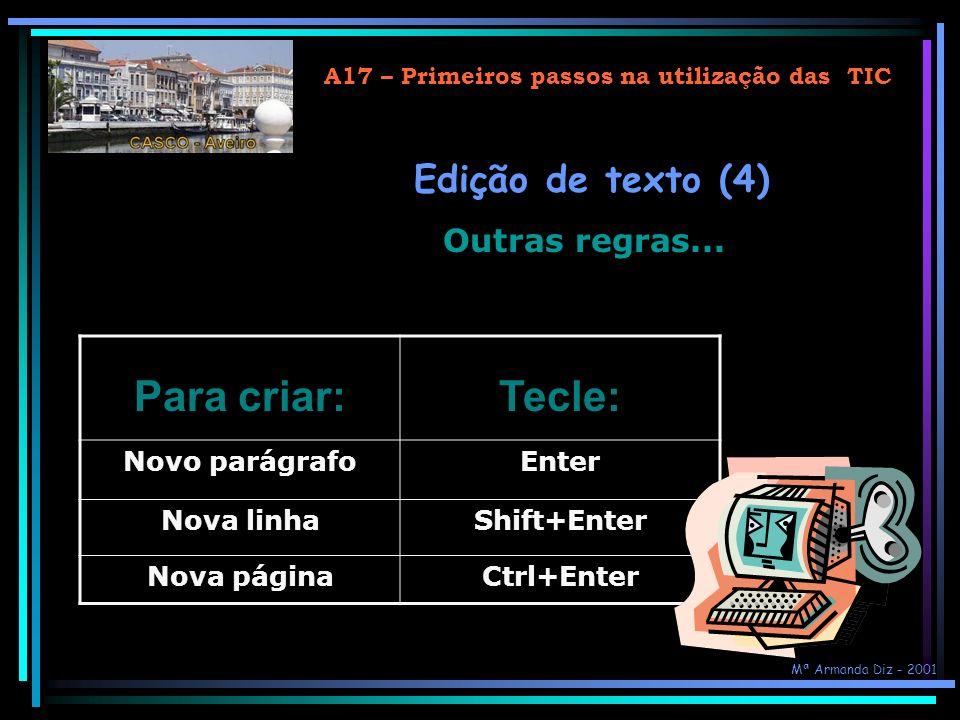 A17 – Primeiros passos na utilização das TIC Para criar:Tecle: Novo parágrafoEnter Nova linhaShift+Enter Nova páginaCtrl+Enter Edição de texto (4) Outras regras...