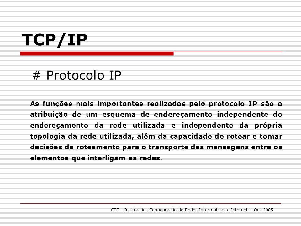 # Protocolo IP TCP/IP As funções mais importantes realizadas pelo protocolo IP são a atribuição de um esquema de endereçamento independente do endereçamento da rede utilizada e independente da própria topologia da rede utilizada, além da capacidade de rotear e tomar decisões de roteamento para o transporte das mensagens entre os elementos que interligam as redes.