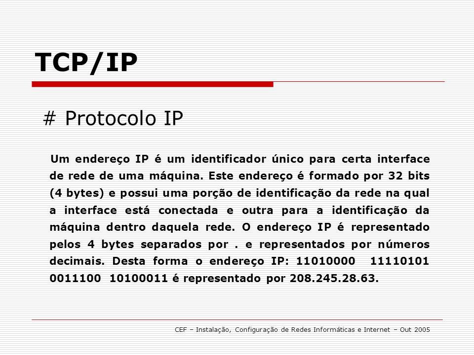 Um endereço IP é um identificador único para certa interface de rede de uma máquina.
