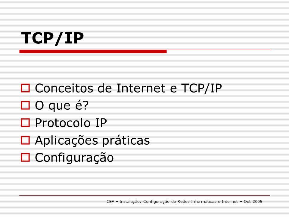 TCP/IP # Utilização prática CEF – Instalação, Configuração de Redes Informáticas e Internet – Out 2005